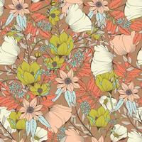 design de padrão sem emenda com flores desenhadas à mão e elementos florais