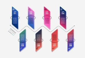 design de forma quadrada vertical 8 etapas vetor