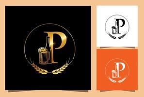 copo de ouro e garrafa de cerveja letra inicial p do monograma vetor