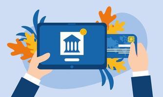 tablet com desenho vetorial de banco e cartão de crédito vetor