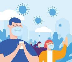 mulher e homem com máscaras em desenho vetorial de cidade vetor