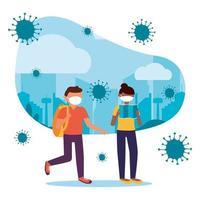 mulher e homem com máscara em desenho vetorial de cidade vetor