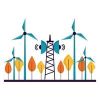 projeto de vetor de árvores e antenas de moinhos de vento ecológico