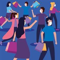 mulheres e homens com máscaras e desenho vetorial de sacolas de compras