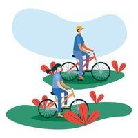 homem e mulher com máscaras em bicicletas vetor