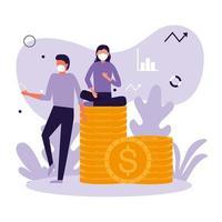 mulher e homem com desenho vetorial de máscara e moedas