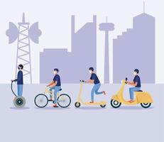 homens com máscaras em hoverboard scooter bike e motocicleta desenho vetorial
