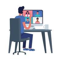 homem com computador e avatares de pessoas na tela em design vetorial de chat por vídeo
