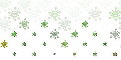 fundo vector verde claro com símbolos covid-19