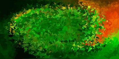 padrão de mosaico de triângulo de vetor verde escuro e vermelho.