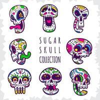 coleção de caveira de açúcar doodle fofa