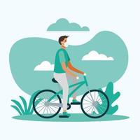 homem com máscara médica em desenho vetorial de bicicleta