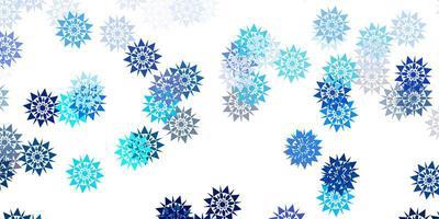 padrão de vetor azul, verde claro com flocos de neve coloridos.