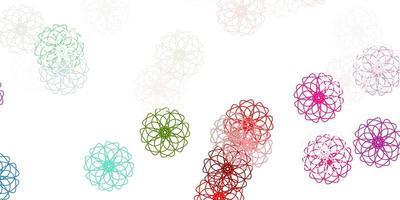 fundo do doodle do vetor verde e vermelho claro com flores.