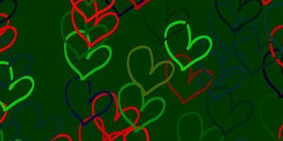 modelo de vetor multicolor de luz com doodle corações.