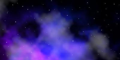 layout de vetor rosa escuro, azul com estrelas brilhantes.