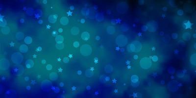 pano de fundo azul claro do vetor com círculos, estrelas.