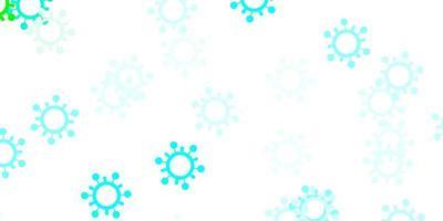 pano de fundo azul claro e verde com símbolos de vírus