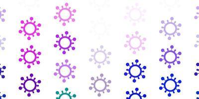 luz multicolor vetor pano de fundo com símbolos de vírus.