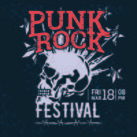 Hipster Punk Rock Festival Poster com Crânio e Estrelas Lightning Starburst vetor