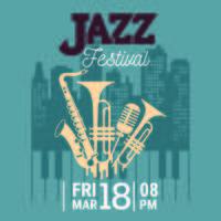 Cartaz para o Festival de Jazz com saxofone, instrumentos de sopro e um microfone