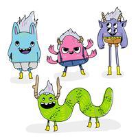 Ilustração engraçada do vetor do Doodle do caráter do monstro dos corujas engraçadas