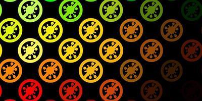 modelo de vetor verde escuro e amarelo com sinais de gripe