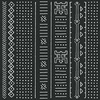 padrão étnico tribal preto e branco com elementos geométricos