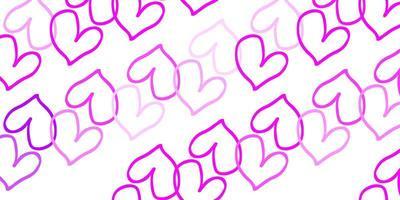 fundo do vetor rosa claro com corações brilhantes.