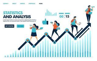 olhando para estatísticas anuais sobre desempenho corporativo. análise de estratégias de planejamento e ideia para empresas. gráfico de linha no relatório de declaração de negócios. ilustração humana para site, aplicativos móveis, pôster vetor