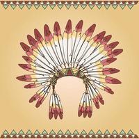 cocar de chefe indígena nativo americano desenhado à mão