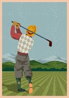 Jogador de golfe vintage vetor