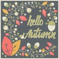 design de cartão de outono com moldura floral e mensagem tipográfica vetor