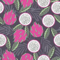 fruta sem costura padrão dragão fruta com folhas tropicais vetor