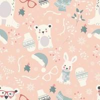 padrões perfeitos de feliz natal com animais polares fofos, ursos, coelhos, vetor