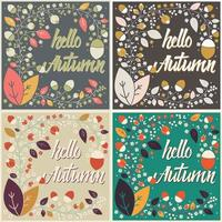 conjunto de design de cartão de outono com moldura floral e mensagem tipográfica vetor
