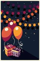 fundo de aniversário com presentes e balões