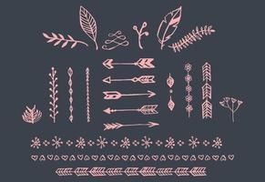 mão desenhada vintage setas, penas, divisórias e elementos florais vetor