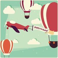 balões de ar quente de fundo de aniversário e um avião