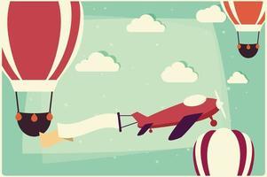 fundo com balões de ar quente e avião com fita