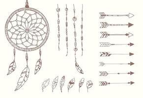 mão desenhada penas nativas americanas, apanhador de sonhos, miçangas e flechas