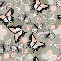 padrão sem emenda com borboletas coloridas desenhadas à mão vetor