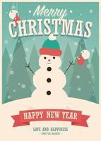 cartão de feliz natal com boneco de neve em fundo de inverno