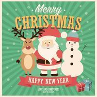 cartão de feliz natal com papai noel, boneco de neve e renas com caixas de presente