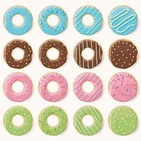 coleção de dezesseis donuts coloridos esmaltados com sabores diferentes vetor