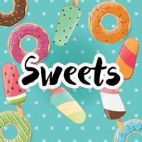 design de pôster com deliciosos donuts coloridos e saborosos e sorvete vetor