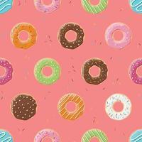padrão sem emenda com rosquinhas coloridas saborosas vetor