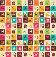 padrões sem emenda com quadrados coloridos, renas de natal, caixas de presente e flocos de neve vetor