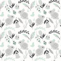 padrão sem emenda com coelhos, joaninhas, pássaros e flores vetor