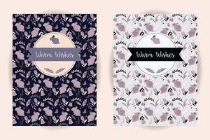 convite e cartão retro com padrão animal e flor sem emenda vetor